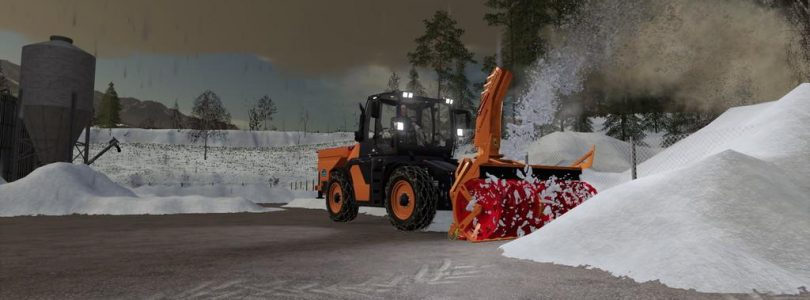Snow in FS19 – Snowplowing 2 feet of snow with case magnum
